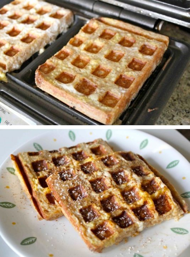 Waffle Iron Hacks and Easy Recipes for Waffle Irons - Waffle Iron French Toast - Quick Ways to Make Healthy Meals in a Waffle Maker - Breakfast, Dinner, Lunch, Dessert and Snack Ideas - Homemade Pizza, Cinnamon Rolls, Egg, Low Carb, Sandwich, Bisquick, Savory Recipes and Biscuits #diy #waffle #hacks