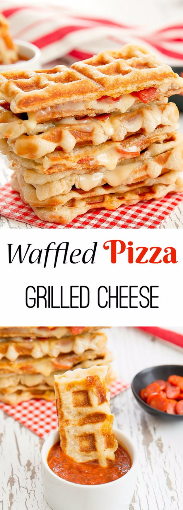 Waffle Iron Hacks and Easy Recipes for Waffle Irons - Waffled Pepperoni Pizza Grilled Cheese - Quick Ways to Make Healthy Meals in a Waffle Maker - Breakfast, Dinner, Lunch, Dessert and Snack Ideas - Homemade Pizza, Cinnamon Rolls, Egg, Low Carb, Sandwich, Bisquick, Savory Recipes and Biscuits #diy #waffle #hacks