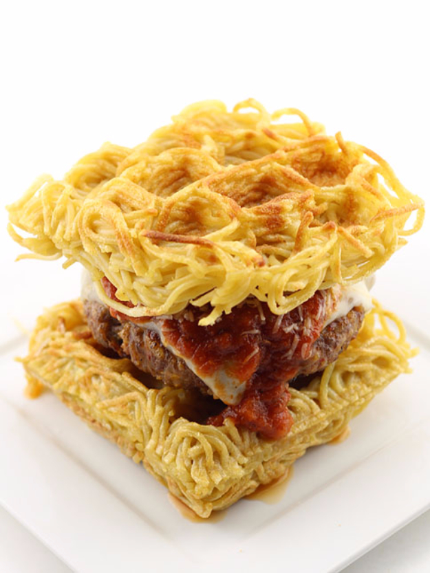 Waffle Iron Hacks and Easy Recipes for Waffle Irons - Waffled Spaghetti Bun Burger - Quick Ways to Make Healthy Meals in a Waffle Maker - Breakfast, Dinner, Lunch, Dessert and Snack Ideas - Homemade Pizza, Cinnamon Rolls, Egg, Low Carb, Sandwich, Bisquick, Savory Recipes and Biscuits http://diyjoy.com/waffle-iron-hacks-recipes