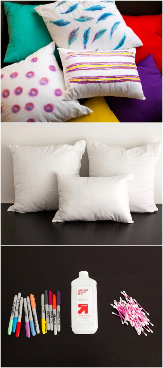 DIY Sharpie Crafts - Watercolor Throw Pillows - Cool and Easy Craft Projects and DIY Ideas Using Sharpies - Use Markers To Decorate and Design Home Decor, Cool Homemade Gifts, T-Shirts, Shoes and Wall Art. Creative Project Tutorials for Teens, Kids and Adults http://diyjoy.com/diy-sharpie-crafts