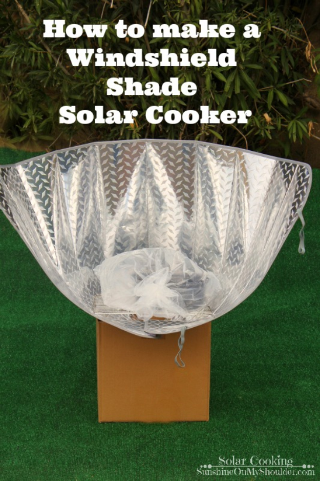DIY Solar Powered Projects - Windshield Shade Solar Cooker - Easy Solar Crafts and DYI Ideas for Making Solar Power Things You Can Use To Save Energy - Step by Step Tutorials for Making Things Without Batteries - DIY Projects and Crafts for Men and Women