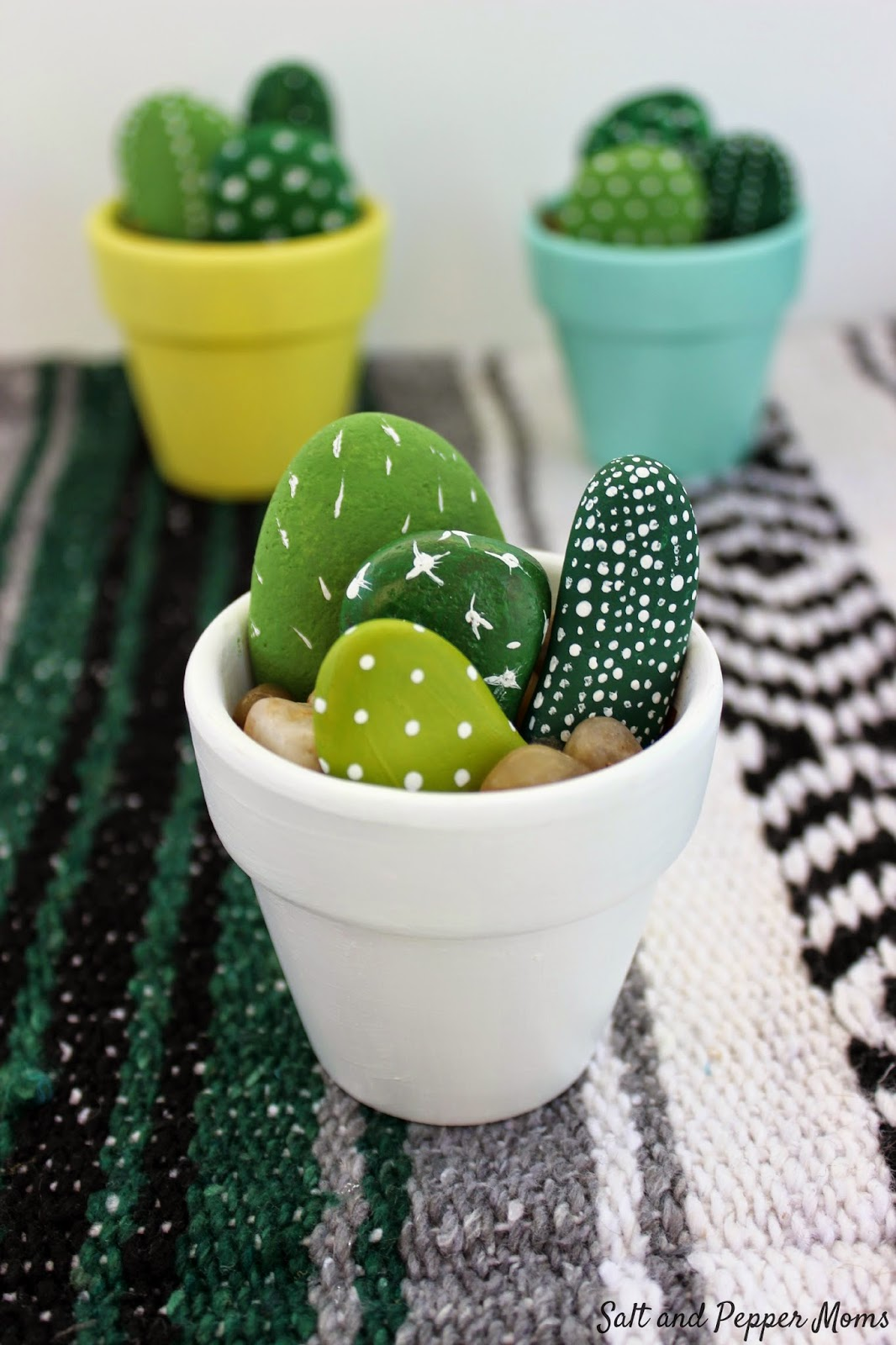 Rock and Stone Crafts - Hand Painted Mini Cactus - DIY Ideas Using Rocks, Stones and Pebble Art - Mosaics, Craft Projects, Home Decor, Furniture and DIY Gifts You Can Make On A Budget #crafts