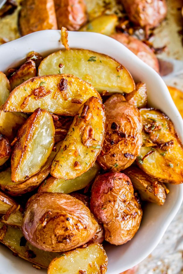 Best Easter Dinner Recipes - 3 Ingredient Roasted Potatoes with Crunchy Onions - Easy Recipe Ideas for Easter Dinners and Holiday Meals for Families - Side Dishes, Slow Cooker Recipe Tutorials, Main Courses, Traditional Meat, Vegetable and Dessert Ideas - Desserts, Pies, Cakes, Ham and Beef, Lamb - DIY Projects and Crafts by DIY JOY