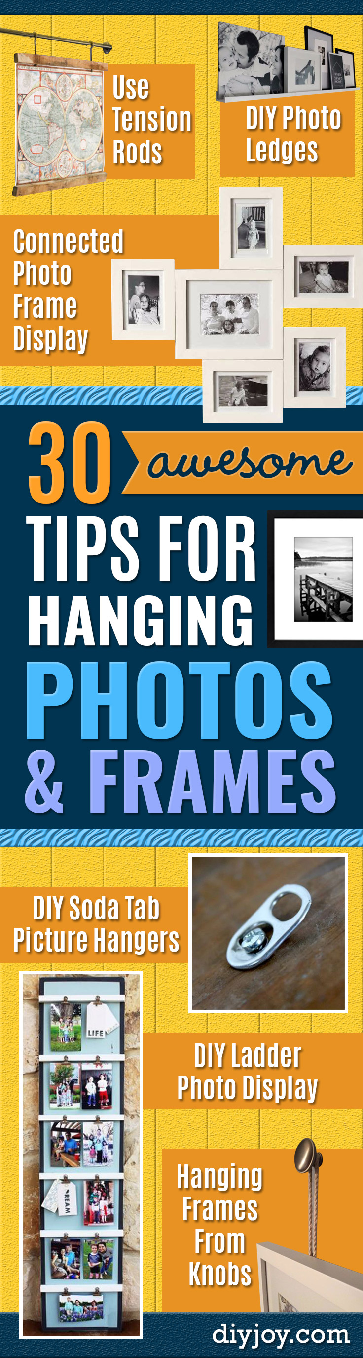 Tips and Tricks for Hanging Photos and Frames - DIY Yarn Clothespin Frame - Step By Step Tutorials and Easy DIY Home Decor Projects for Decorating Walls - Cool Wall Art Ideas for Bedroom, Living Room, Gallery Walls - Creative and Cheap Ideas for Displaying Photos and Prints - DIY Projects and Crafts by DIY JOY