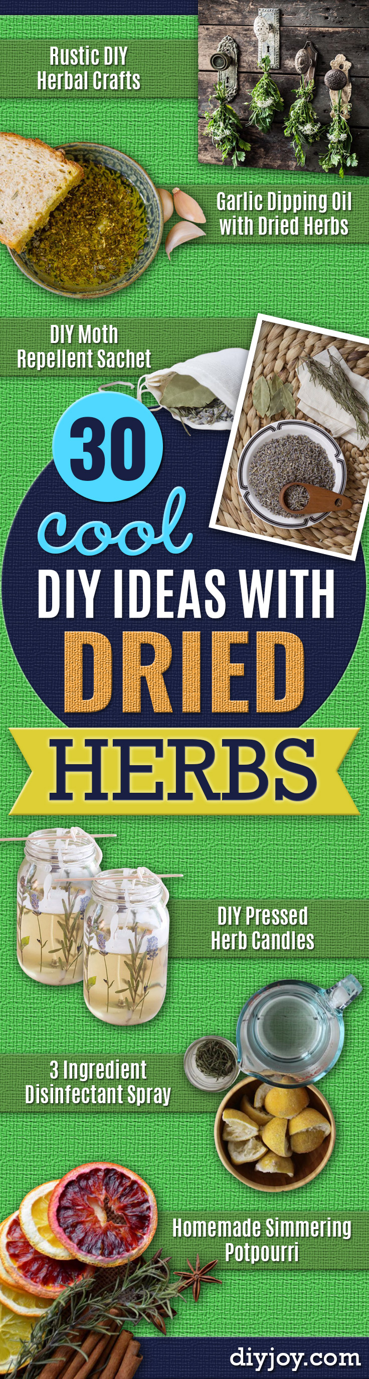 DIY Ideas with Dried Herbs - Creative Home Decor With Easy Step by Step Tutorials for Making Herb Crafts, Projects and Recipes - Cool DIY Gift Ideas and Cheap Homemade Gifts - DIY Projects and Crafts by DIY JOY #diy #herbs #gifts
