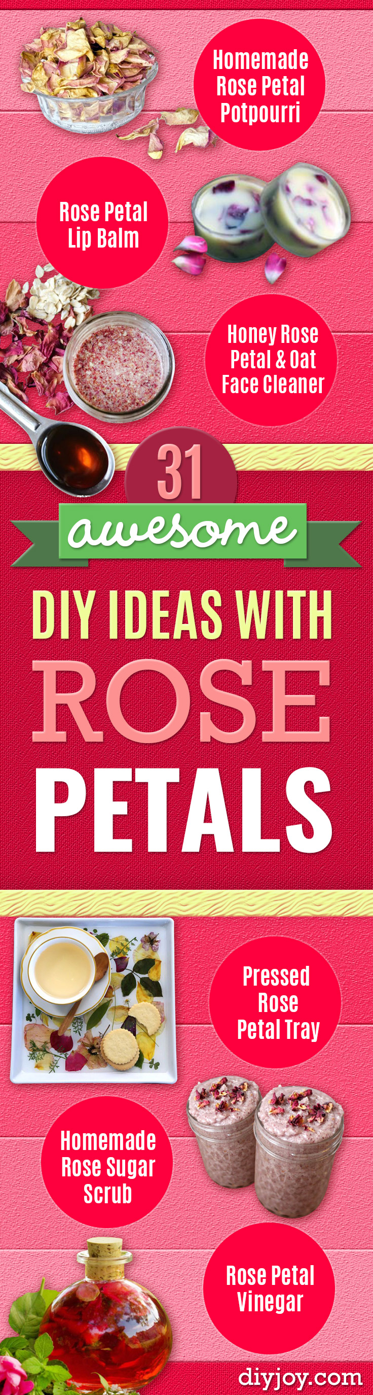 DIY Ideas With Rose Petals - Crafts and DIY Projects, Recipes You Can Make With Rose Petals - Easy Home Decor and Gift Ideas Make Creative Mothers Day and Christmas Gifts - Crafts and Do It Yourself by DIY JOY