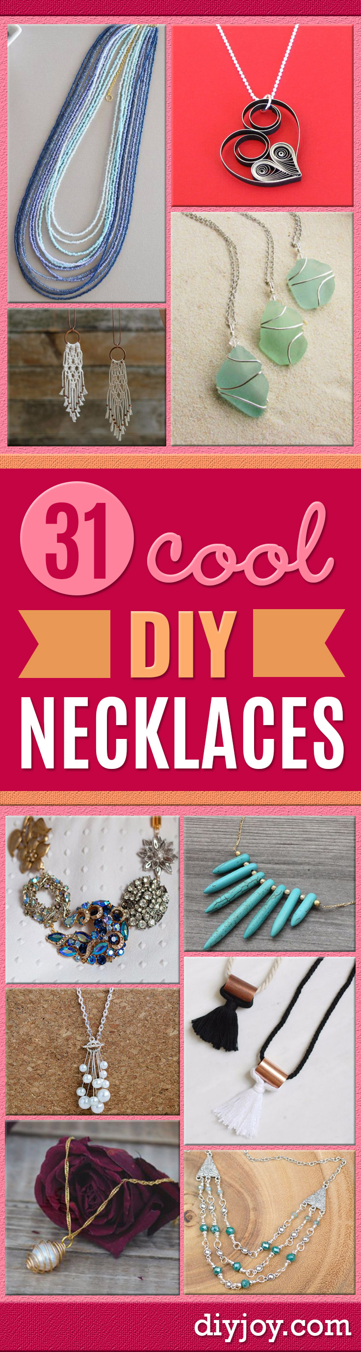 DIY Necklace Ideas - Easy Handmade Necklaces with Step by Step Tutorials - Pendant, Beads, Statement, Choker, Layered Boho, Chain and Simple Looks - Creative Jewlery Making Ideas for Women and Teens, Girls - Crafts and Cool Fashion Ideas for Women, Teens and Teenagers http://diyjoy.com/diy-necklaces