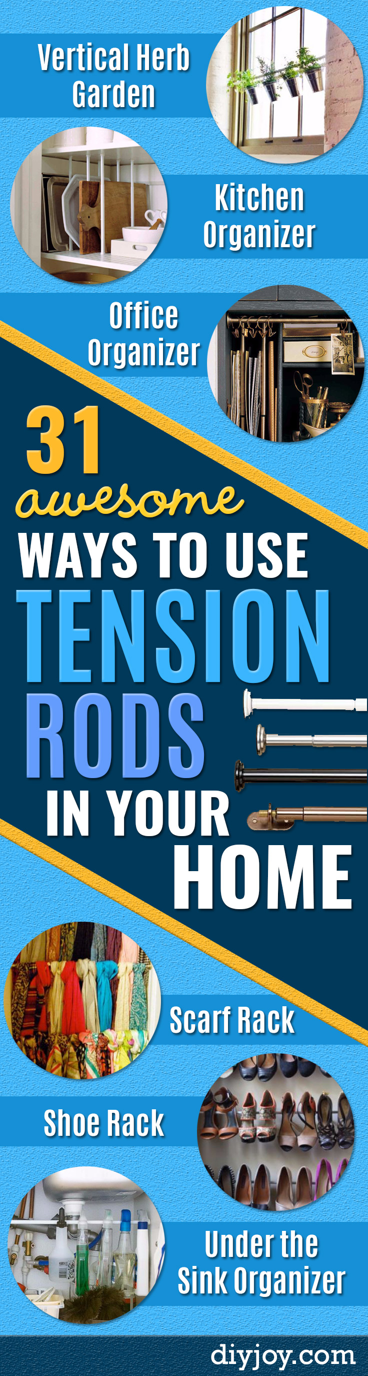 31 awesome ways to use tension rods in your home diy joy cool diy ideas with tension rods quick do it yourself projects easy ways to solutioingenieria Image collections