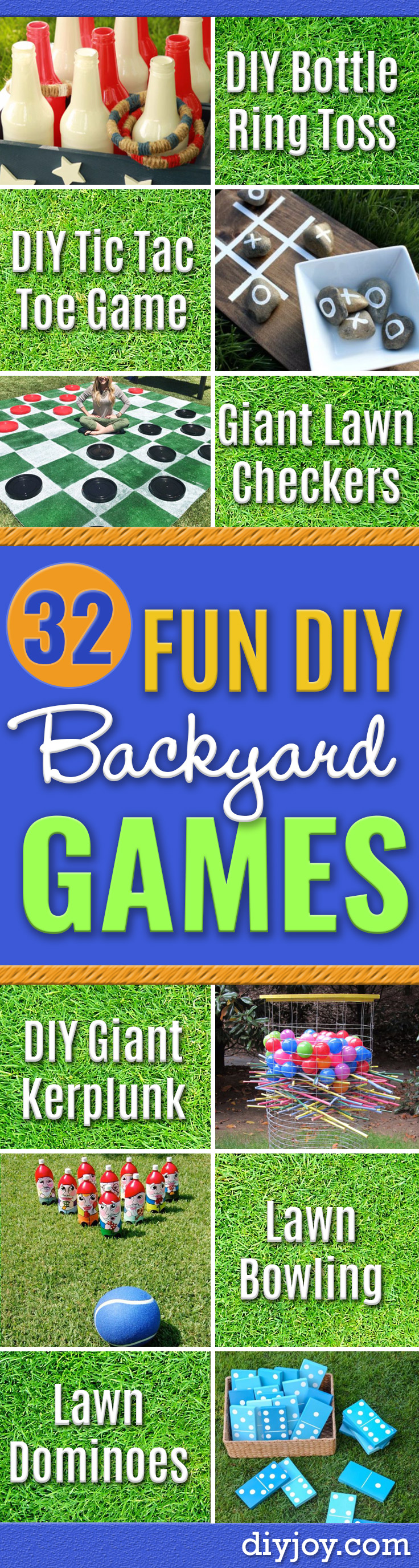 Best DIY Backyard Games - Cool DIY Yard Game Ideas for Adults, Teens and Kids - Easy Tutorials for Cornhole, Washers, Jenga, Tic Tac Toe and Horseshoes - Cool Projects for Outdoor Parties and Summer Family Fun Outside