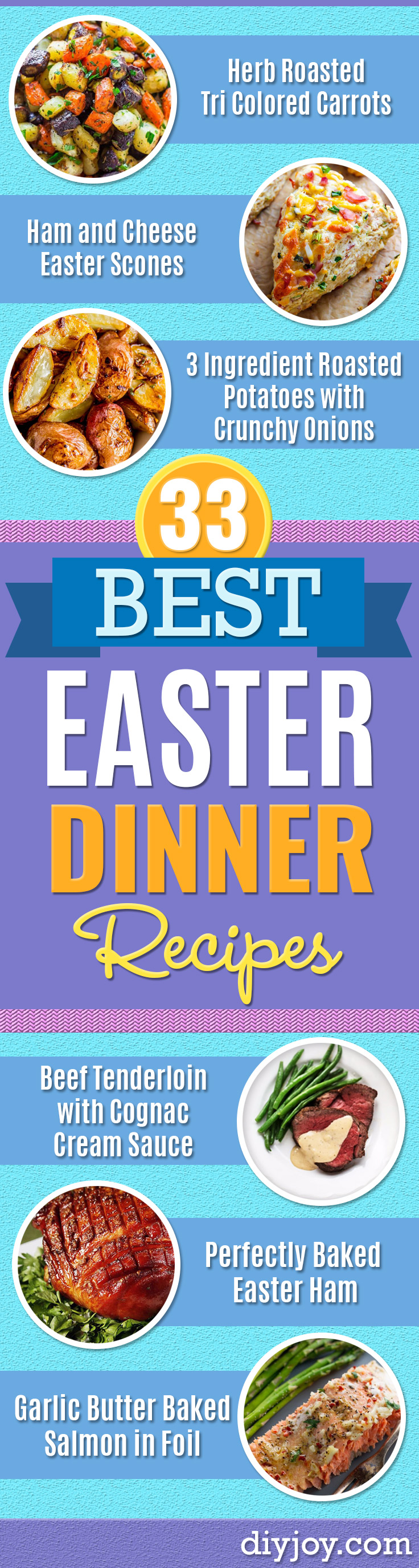 Best Easter Dinner Recipes - Easy Recipe Ideas for Easter Dinners and Holiday Meals for Families - Side Dishes, Slow Cooker Recipe Tutorials, Main Courses, Traditional Meat, Vegetable and Dessert Ideas - Desserts, Pies, Cakes, Ham and Beef, Lamb - DIY Projects and Crafts by DIY JOY