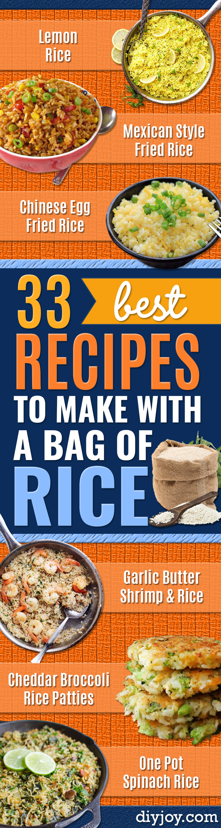 Rice Recipes - Easy Ideas for Quick Meals Made From a Bag of Rice - Healthy Recipes With Brown, White and Arborio Rice - Cheesy, Fried, Asian, Mexican Flavored Dinner Dishes and Side Dishes - DIY Projects and Crafts by DIY JOY