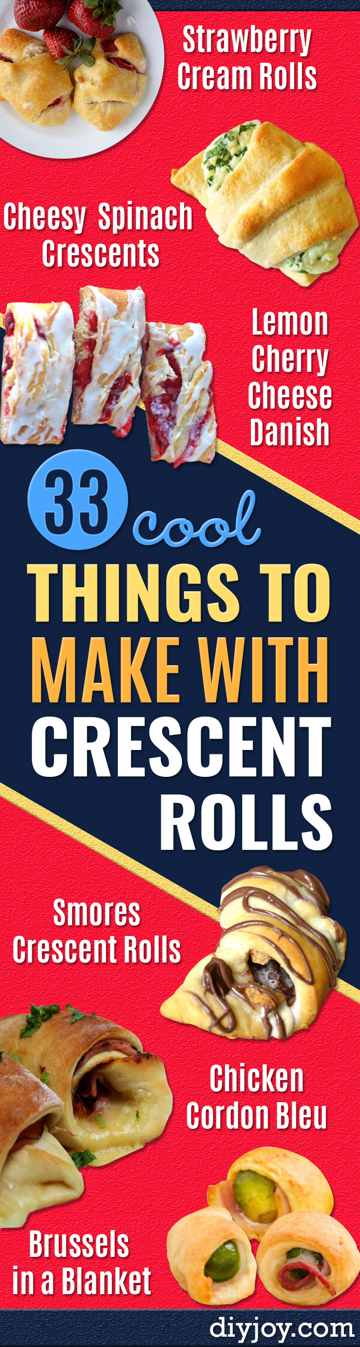 crescent roll recipes - Easy Homemade Dinner recipe ideas with crescent rolls easy Breakfast, Snack, Appetizers and Dessert - With Chicken and Ground Beef, Hot Dogs, Pizza, Garlic Taco, Sweet Desserts #recipes