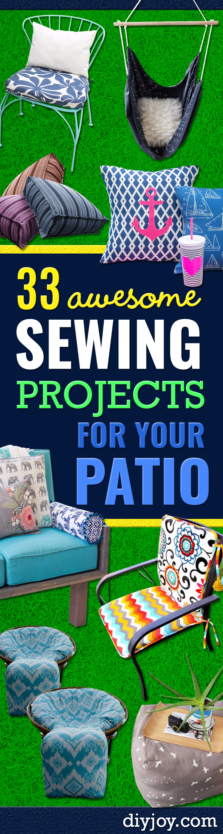 Sewing Projects for The Patio - Step by Step   Instructions and Free Patterns for Cushions, Pillows, Seating, Sofa   and Outdoor Patio Decor - Easy Sewing Tutorials for Beginners -   Creative and Cheap Outdoor Ideas for Those Who Love to Sew - DIY   Projects and Crafts by DIY JOY http://diyjoy.com/sewing-projects-  patio