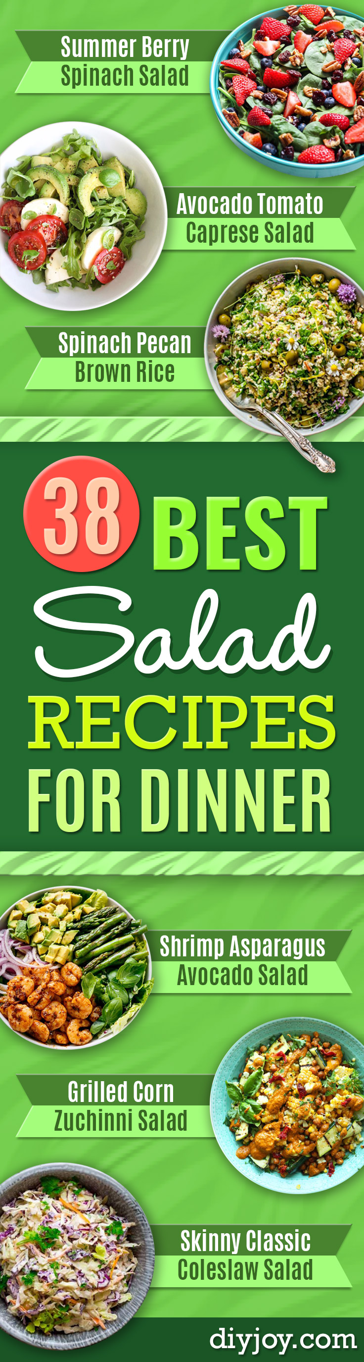 Best Dinner Salad Recipes - Easy Salads to Make for Quick and Healthy Dinners - Healthy Chicken, Egg, Vegetarian, Steak and Shrimp Salad Ideas - Summer Side Dishes, Hearty Filling Meals, and Low Carb Options http://diyjoy.com/dinner-salad-recipes