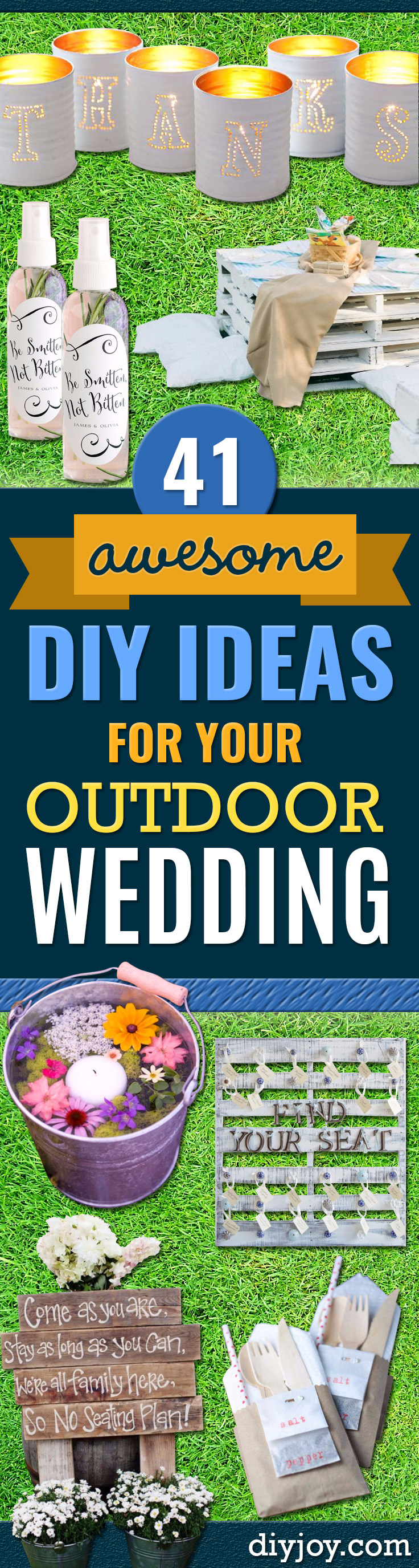 DIY Outdoors Wedding Ideas - Step by Step Tutorials and Projects Ideas for Summer Brides - Lighting, Mason Jar Centerpieces, Table Decor, Party Favors, Guestbook Ideas, Signs, Flowers, Banners, Tablecloth and Runners, Napkins, Seating and Lights - Cheap and Ideas DIY Decor for Weddings