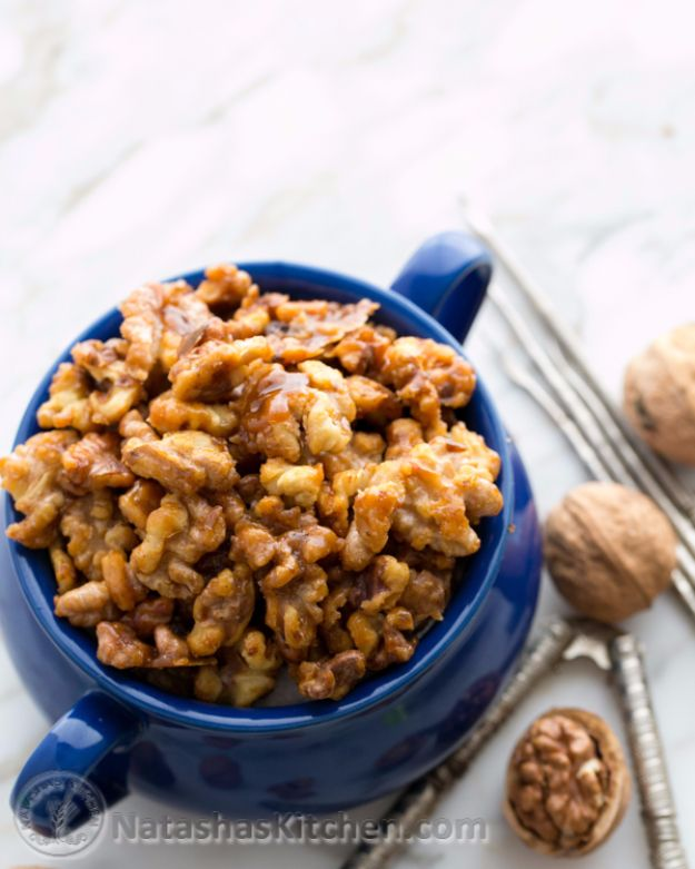 Easy Snacks You Can Make In Minutes - 5 Minute Candied Walnuts - Quick Recipes and Tricks for Making After Workout and After School Snack - Fast Ideas for Instant Small Meals and Treats - No Bake, Microwave and Simple Prep Makes Snacking Fun #snacks #recipes