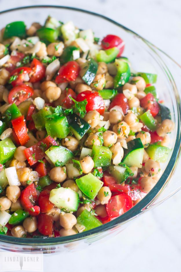 Easy Snacks You Can Make In Minutes - 5 Minute Chopped Chickpea Salad - Quick Recipes and Tricks for Making After Workout and After School Snack - Fast Ideas for Instant Small Meals and Treats - No Bake, Microwave and Simple Prep Makes Snacking Fun #snacks #recipes