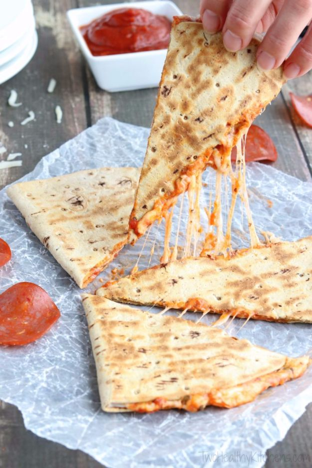 Easy Snacks You Can Make In Minutes - 5-Minute Pepperoni Pizza Quesadilla - Quick Recipes and Tricks for Making After Workout and After School Snack - Fast Ideas for Instant Small Meals and Treats - No Bake, Microwave and Simple Prep Makes Snacking Fun #snacks #recipes