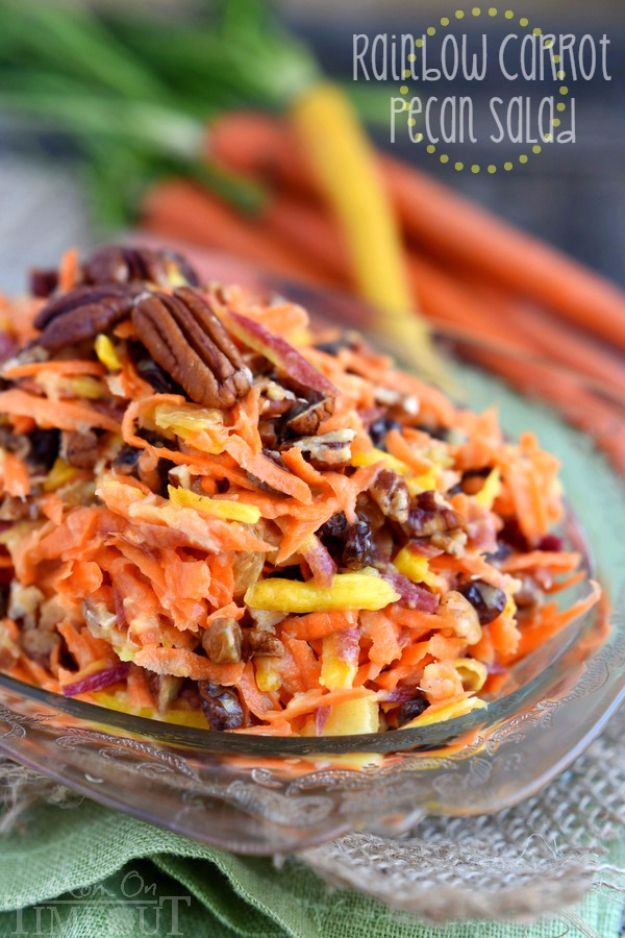 Easy Snacks You Can Make In Minutes - 5-Minute Rainbow Carrot Pecan Salad - Quick Recipes and Tricks for Making After Workout and After School Snack - Fast Ideas for Instant Small Meals and Treats - No Bake, Microwave and Simple Prep Makes Snacking Fun #snacks #recipes