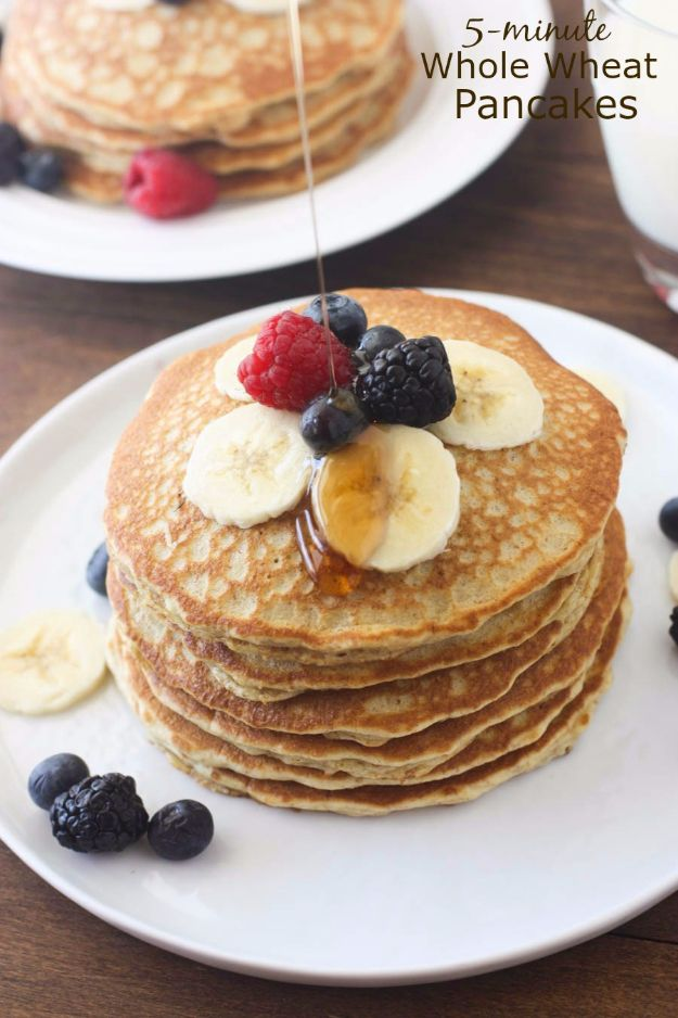 Easy Snacks You Can Make In Minutes - 5-Minute Whole Wheat Pancakes - Quick Recipes and Tricks for Making After Workout and After School Snack - Fast Ideas for Instant Small Meals and Treats - No Bake, Microwave and Simple Prep Makes Snacking Fun #snacks #recipes
