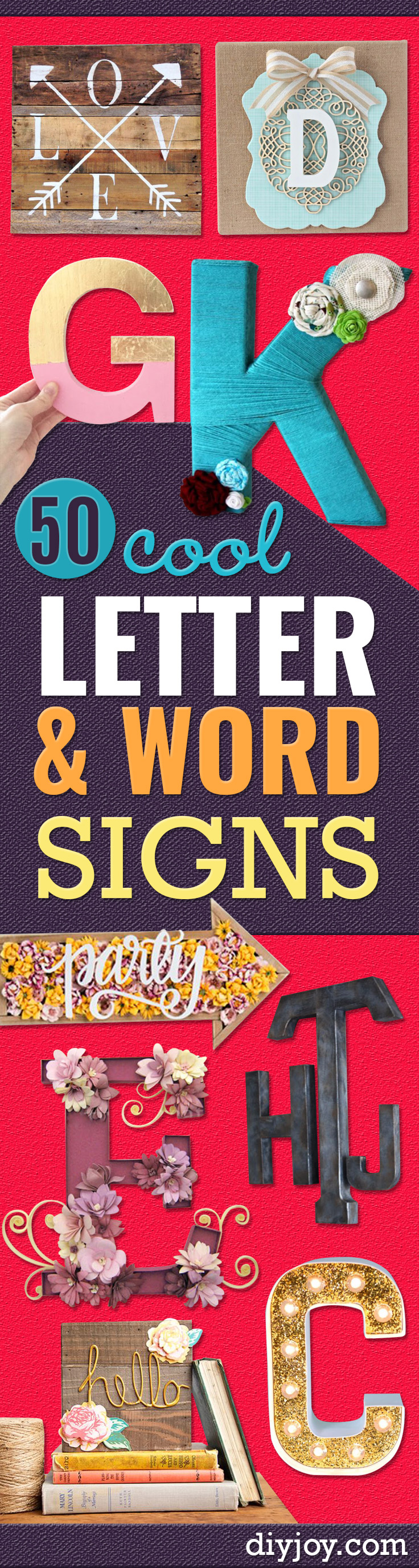 DIY Wall Letters and Word Signs - Initials Wall Art for Creative Home Decor Ideas - Cool Architectural Letter Projects and Wall Art Tutorials for Living Room Decor, Bedroom Ideas. Girl or Boy Nursery. Paint, Glitter, String Art, Easy Cardboard and Rustic Wooden Ideas - DIY Projects and Crafts by DIY JOY
