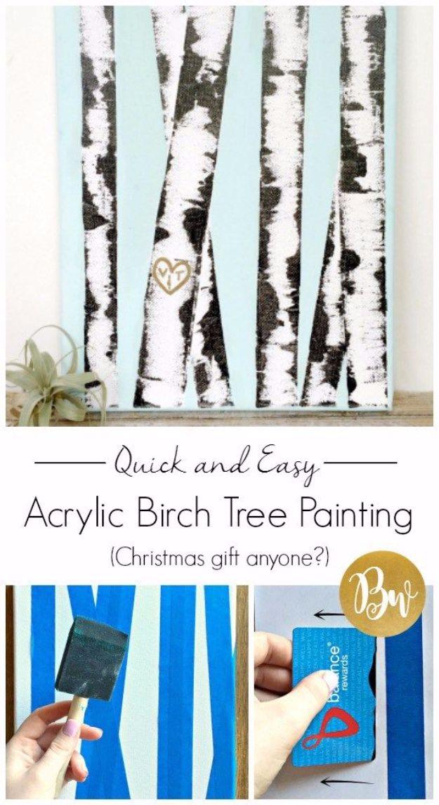 DIY Canvas Painting Ideas - Acrylic Birch Tree Canvas Painting DIY - Cool and Easy Wall Art Ideas You Can Make On A Budget #painting #diyart #diygifts