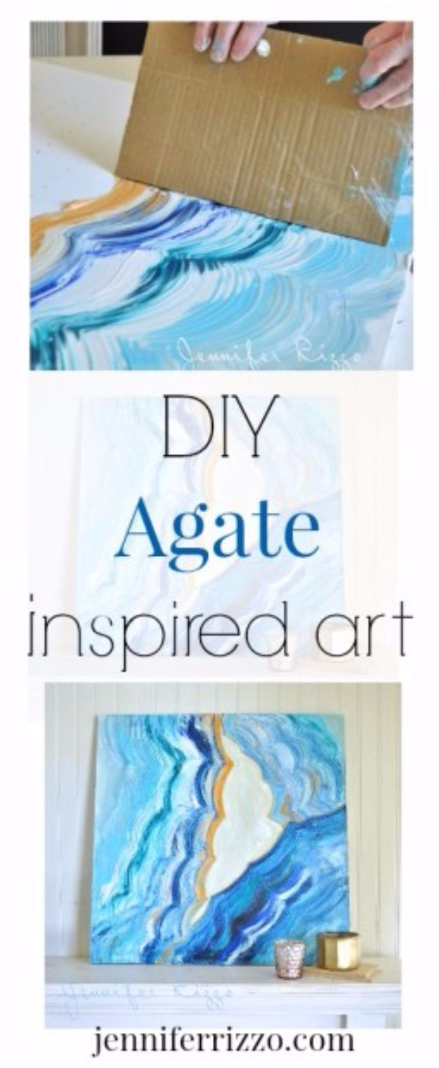 DIY Canvas Painting Ideas - Agate Inspired Acrylic Painting - Cool and Easy Wall Art Ideas You Can Make On A Budget #painting #diyart #diygifts
