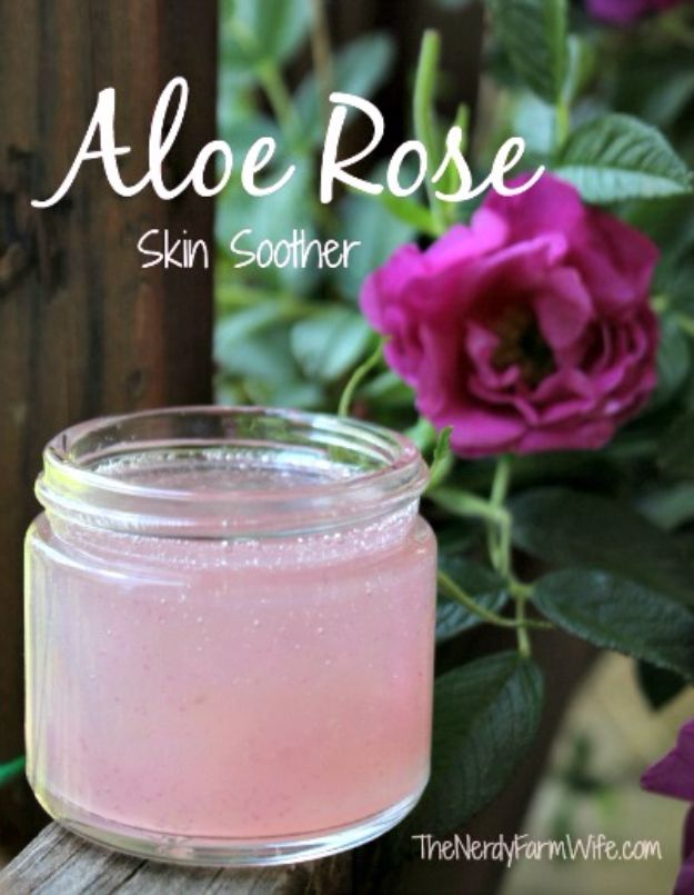 DIY Ideas With Rose Petals - Aloe Rose Skin Soother - Crafts and DIY Projects, Recipes You Can Make With Rose Petals - Creative Home Decor and Gift Ideas Make Awesome Mothers Day and Christmas Gifts - Crafts and Do It Yourself by DIY JOY #rosecrafts #diygifts