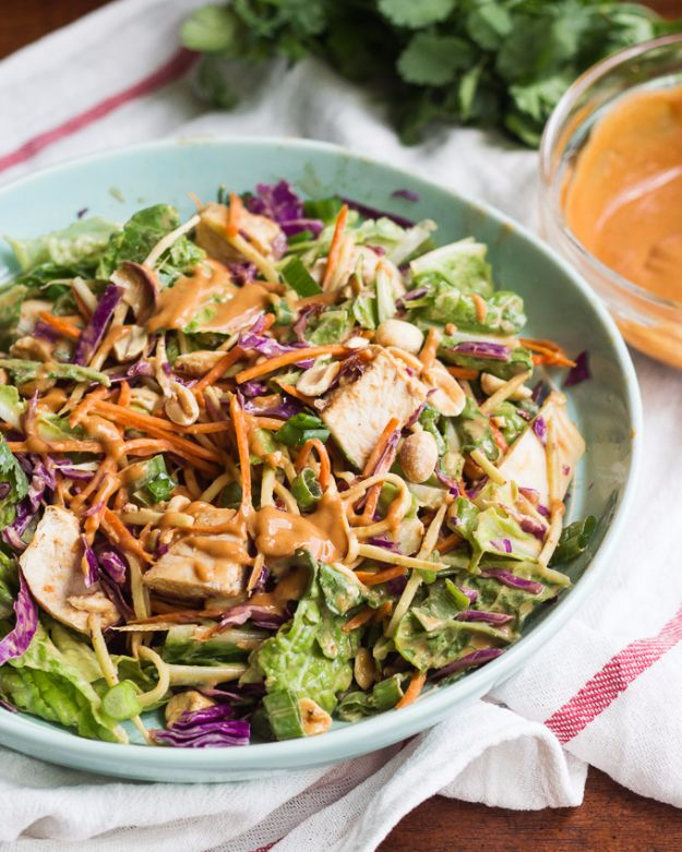 Best Dinner Salad Recipes - Asian Chopped Salad With Spicy Peanut Dressing - Easy Salads to Make for Quick and Healthy Dinners - Healthy Chicken, Egg, Vegetarian, Steak and Shrimp Salad Ideas - Summer Side Dishes, Hearty Filling Meals, and Low Carb Options #saladrecipes #dinnerideas #salads #healthyrecipes
