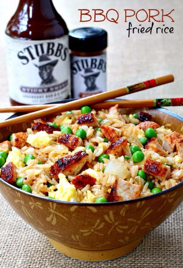 Easy Rice Recipes - Quick Recipe Ideas to Make With a Bag of Rice - BBQ Pork Fried Rice Recipe- Healthy Recipes With Brown, White and Arborio Rice
