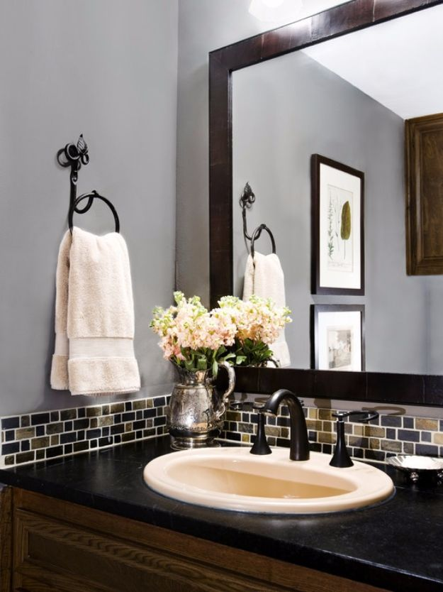 DIY Home Improvement On A Budget - Bathroom Tile Backsplash - Easy and Cheap Do It Yourself Tutorials for Updating and Renovating Your House - Home Decor Tips and Tricks, Remodeling and Decorating Hacks - DIY Projects and Crafts by DIY JOY #diy