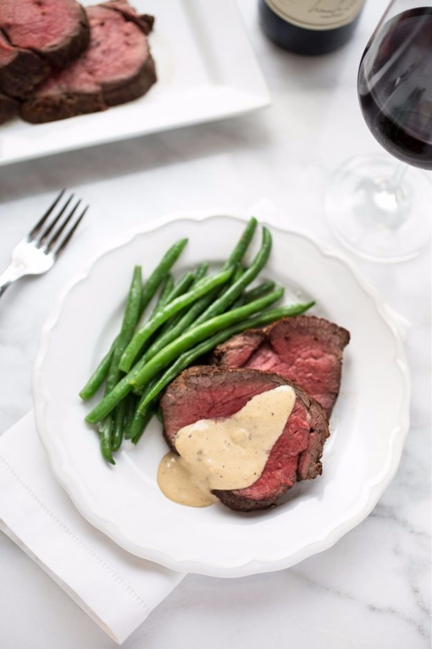 Best Easter Dinner Recipes - Beef Tenderloin With Cognac Cream Sauce - Easy Recipe Ideas for Easter Dinners and Holiday Meals for Families - Side Dishes, Slow Cooker Recipe Tutorials, Main Courses, Traditional Meat, Vegetable and Dessert Ideas - Desserts, Pies, Cakes, Ham and Beef, Lamb - DIY Projects and Crafts by DIY JOY