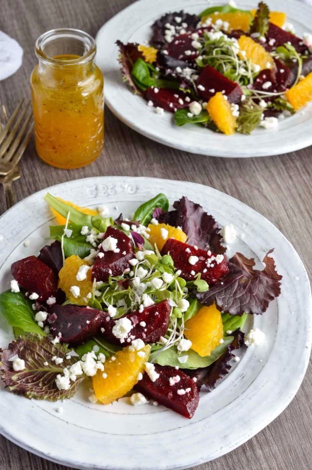 Best Dinner Salad Recipes - Beet Salad with Goat Cheese and Orange Vinaigrette Dressing - Easy Salads to Make for Quick and Healthy Dinners - Healthy Chicken, Egg, Vegetarian, Steak and Shrimp Salad Ideas - Summer Side Dishes, Hearty Filling Meals, and Low Carb Options http://diyjoy.com/dinner-salad-recipes