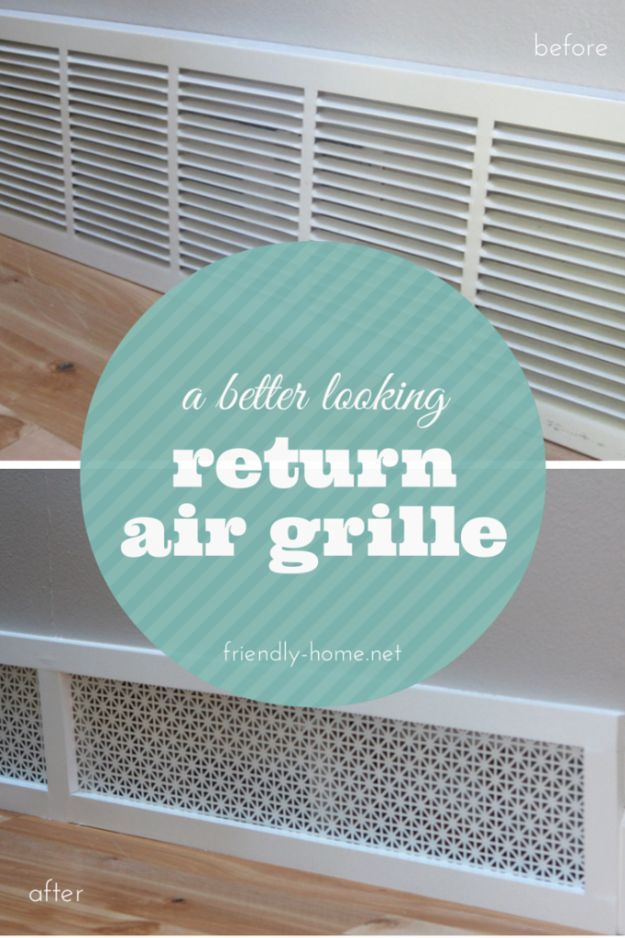 DIY Home Improvement On A Budget - Better Looking Return Air Grille - Easy and Cheap Do It Yourself Tutorials for Updating and Renovating Your House - Home Decor Tips and Tricks, Remodeling and Decorating Hacks - DIY Projects and Crafts by DIY JOY http://diyjoy.com/diy-home-improvement-ideas-budget