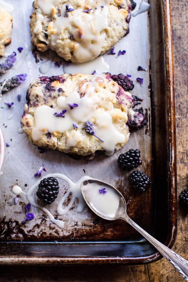 DIY Lavender Recipes and Project Ideas - Blackberry Lavender White Chocolate Scones - Food, Beauty, Baking Tutorials, Desserts and Drinks Made With Fresh and Dried Lavender - Savory Lavender Recipe Ideas, Healthy and Vegan #lavender #diy
