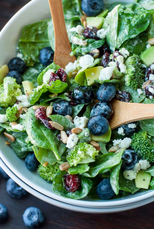 Best Dinner Salad Recipes - Blueberry Broccoli Spinach Salad With Poppyseed Ranch - Easy Salads to Make for Quick and Healthy Dinners - Healthy Chicken, Egg, Vegetarian, Steak and Shrimp Salad Ideas - Summer Side Dishes, Hearty Filling Meals, and Low Carb Options #saladrecipes #dinnerideas #salads #healthyrecipes