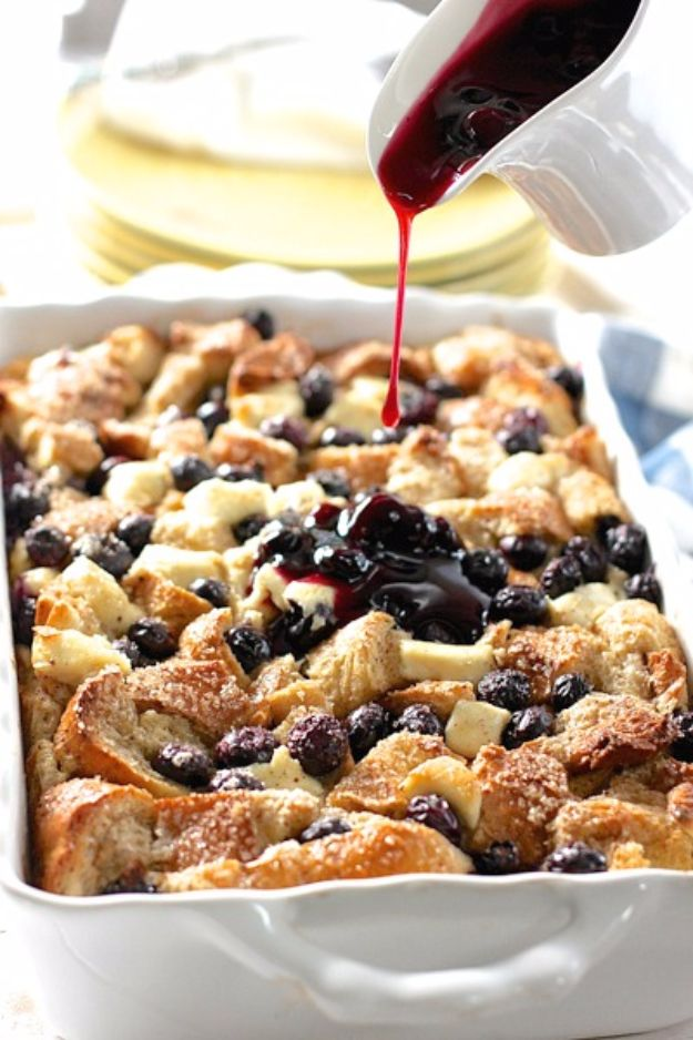 Best Easter Dinner Recipes - Blueberry & Cream Cheese French Toast Casserole - Easy Recipe Ideas for Easter Dinners and Holiday Meals for Families - Side Dishes, Slow Cooker Recipe Tutorials, Main Courses, Traditional Meat, Vegetable and Dessert Ideas - Desserts, Pies, Cakes, Ham and Beef, Lamb - DIY Projects and Crafts by DIY JOY