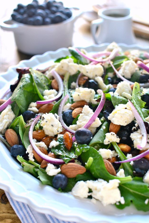 Best Easter Dinner Recipes - Blueberry Feta Salad - Easy Recipe Ideas for Easter Dinners and Holiday Meals for Families - Side Dishes, Slow Cooker Recipe Tutorials, Main Courses, Traditional Meat, Vegetable and Dessert Ideas - Desserts, Pies, Cakes, Ham and Beef, Lamb - DIY Projects and Crafts by DIY JOY