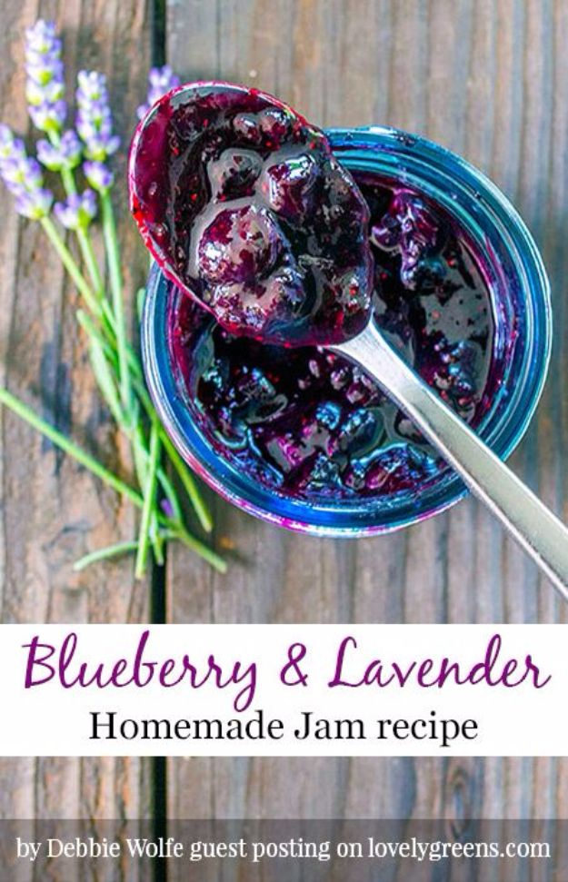 DIY Lavender Recipes and Project Ideas - Blueberry & Lavender Jam - Food, Beauty, Baking Tutorials, Desserts and Drinks Made With Fresh and Dried Lavender - Savory Lavender Recipe Ideas, Healthy and Vegan - DIY Projects and Crafts by DIY JOY http://diyjoy.com/diy-projects-lavender-herbs
