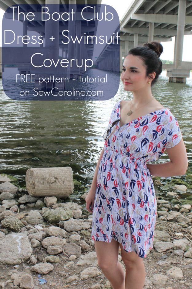 DIY Dresses to Sew for Summer - Boat Club Dress And Swimsuit Coverup - Best Free Patterns For Dress Ideas - Easy and Cheap Clothes to Make for Women and Teens - Step by Step Sewing Projects - Short, Summer, Winter, Fall, Inexpensive DIY Fashion