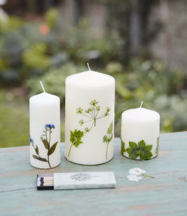 DIY Ideas with Dried Herbs - Botanical Candles - Creative Home Decor With Easy Step by Step Tutorials for Making Herb Crafts, Projects and Recipes - Cool DIY Gift Ideas and Cheap Homemade Gifts - DIY Projects and Crafts by DIY JOY #diy #herbs #gifts