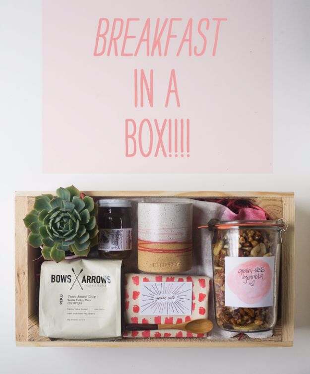 DIY Mothers Day Gift Ideas - Breakfast In A Box - Homemade Gifts for Moms - Crafts and Do It Yourself Home Decor, Accessories and Fashion To Make For Mom - Mothers Love Handmade Presents on Mother's Day - DIY Projects and Crafts by DIY JOY http://diyjoy.com/diy-mothers-day-gifts
