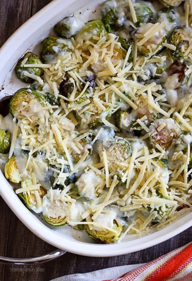 Best Brussel Sprout Recipes - Brussels Sprouts Gratin - Easy and Quick Delicious Ideas for Making Brussel Sprouts With Bacon, Roasted, Creamy, Healthy, Baked, Sauteed, Crockpot, Grilled, Shredded and Salad Recipe Ideas - Cool Lunches, Dinner, Snack, Side and DIY Dinner Vegetable Dishes http://diyjoy.com/best-brussel-sprout-recipes