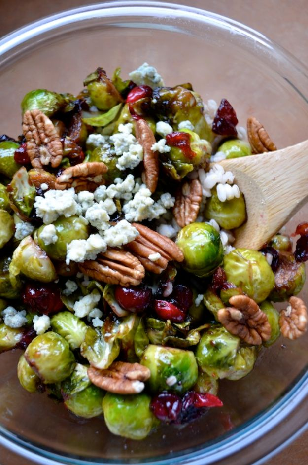 Best Brussel Sprout Recipes - Brussels Sprouts With Cranberries And Pecans - Easy and Quick Delicious Ideas for Making Brussel Sprouts With Bacon, Roasted, Creamy, Healthy, Baked, Sauteed, Crockpot, Grilled, Shredded and Salad Recipe Ideas #recipes