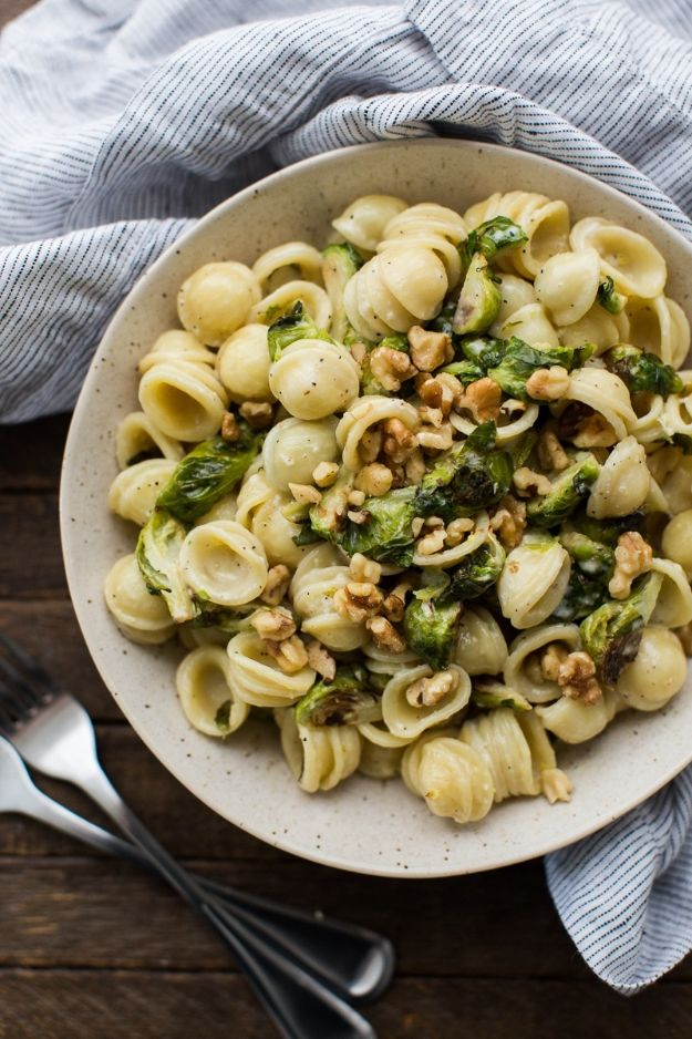 Best Brussel Sprout Recipes - Brussels Sprout Pasta with Lemon Cream Sauce - Easy and Quick Delicious Ideas for Making Brussel Sprouts With Bacon, Roasted, Creamy, Healthy, Baked, Sauteed, Crockpot, Grilled, Shredded and Salad Recipe Ideas - Cool Lunches, Dinner, Snack, Side and DIY Dinner Vegetable Dishes http://diyjoy.com/best-brussel-sprout-recipes