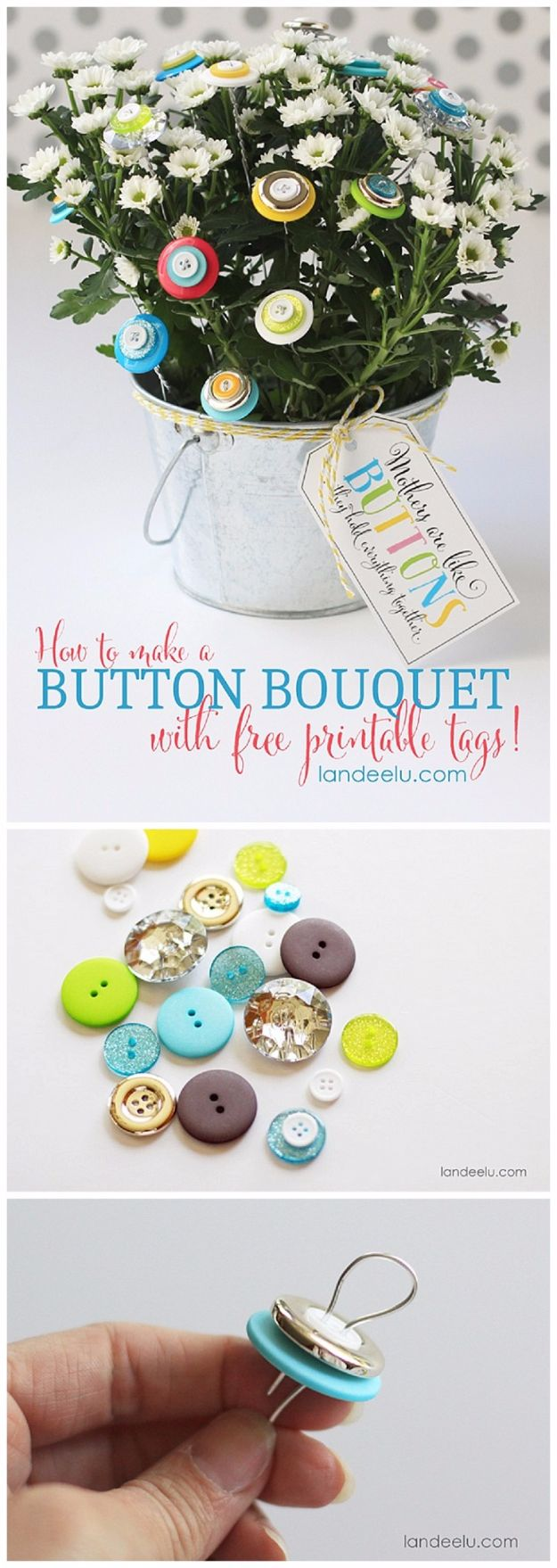 DIY Mothers Day Gift Ideas - Button Bouquet - Homemade Gifts for Moms - Crafts and Do It Yourself Home Decor, Accessories and Fashion To Make For Mom - Mothers Love Handmade Presents on Mother's Day - DIY Projects and Crafts by DIY JOY http://diyjoy.com/diy-mothers-day-gifts