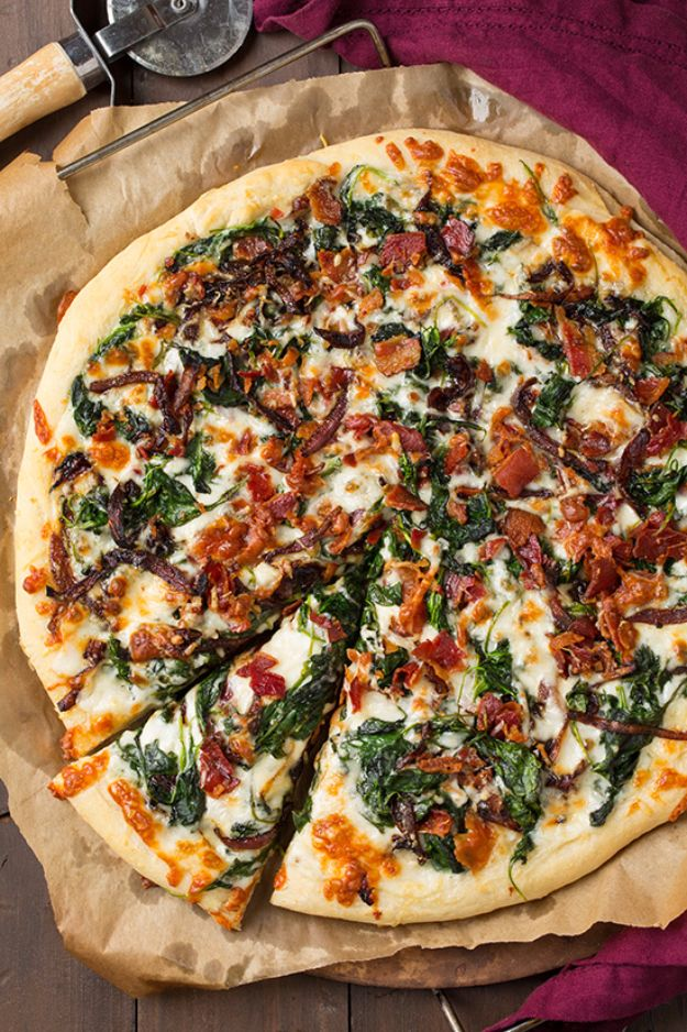 Best Pizza Recipes - Caramelized Onion, Bacon and Spinach Pizza - Homemade Pizza Recipe Ideas for Healthy, Easy Dinner, Lunch and Snacks - How To Make Pizza Dough at Home - Step by Step Tutorials for Varieties with Pepperoni, Gourmet and Unique Tips With Pillsbury Biscuits, for Kids, With Chicken and French Bread - Thin Crust and Deep Dish Pizzas http://diyjoy.com/best-pizza-recipes