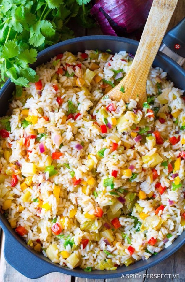 Best Rice Recipes - Caribbean Confetti Rice - Easy Ideas for Quick Meals Made From a Bag of Rice - Healthy Recipes With Brown, White and Arborio Rice - Cheesy, Fried, Asian, Mexican Flavored Dinner Dishes and Side Dishes - DIY Projects and Crafts by DIY JOY