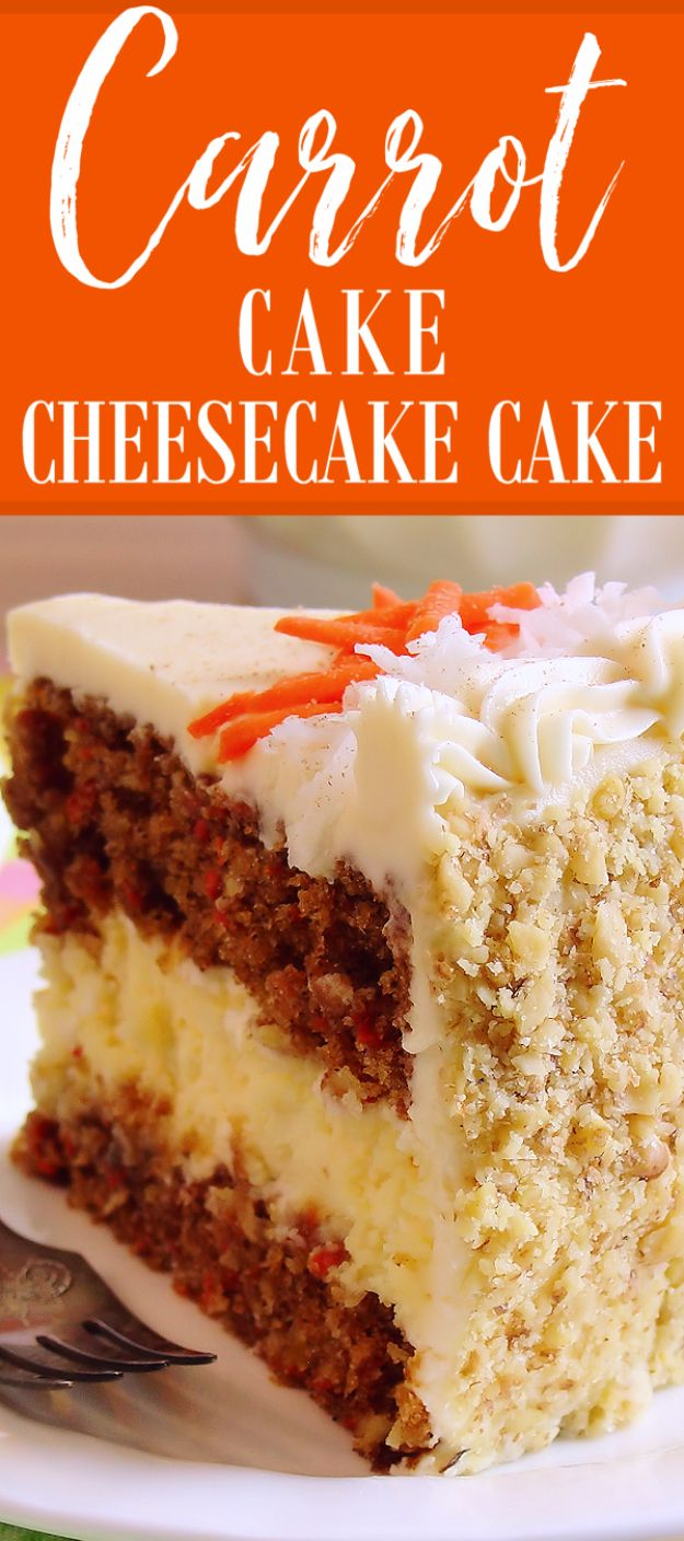 Best Cheesecake Recipes - Carrot Cake Cheesecake - Easy and Quick Recipe Ideas for Cheesecakes and Desserts - Chocolate, Simple Plain Classic, New York, Mini, Oreo, Lemon, Raspberry and Quick No Bake - Step by Step Instructions and Tutorials for Yummy Dessert