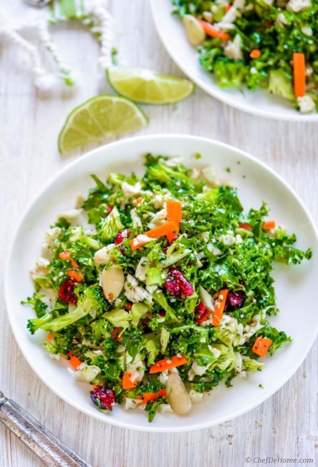 Best Dinner Salad Recipes - Cauliflower and Broccoli Detox Salad - Easy Salads to Make for Quick and Healthy Dinners - Healthy Chicken, Egg, Vegetarian, Steak and Shrimp Salad Ideas - Summer Side Dishes, Hearty Filling Meals, and Low Carb Options #saladrecipes #dinnerideas #salads #healthyrecipes